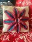 Little Retro Granny Handmade Pillow, 12 inch Throw with Flower