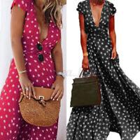 UK Women Sexy Deep-V Short Sleeve Sundress Ladies Polka Dot Beach Maxi Dresses