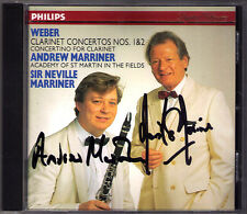 Andrew & Sir Neville Marriner firmato Weber Clarinet Concerto No. 1 2 CD PHILIPS
