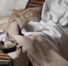 LOGAN & MASON White Premium Cotton Waffle Blanket Super King Size Brand New