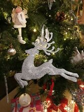 X5 large Silver Glitter Reindeer Christmas Tree Hanging Ornament Decoration 24cm