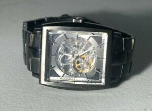 CLEAN MENS KENNETH COLE SKELETON DIAL BLACK PVD AUTOMATIC  WATCH KC 9040