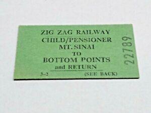 ZIG ZAG RAILWAY TRAIN TICKET MT SINAI TO BOTTOM POINTS