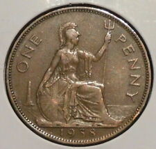 New Listing1938 Uk Great Britain King George Vi Large Penny coin cent age 82 years old Sj13