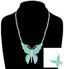 Necklace Pendant Turquoise Blue Green Enamel Butterfly Big Large Statement