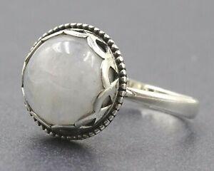 White Labradorite Round Cabochon Ring Sterling Silver 925 Silver Fine Jewelry