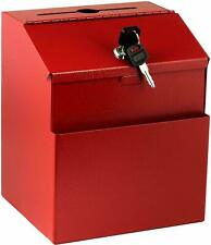 AdirOffice Wall Mount Steel Red Suggestion Red Box W/ Lock Collection Drop Box