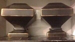 Loft Umbra Drapery Curtain Finial Set /2 Bronze NEW soft square 3 sets available