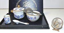 Dollhouse Miniature Blue Onion Soup Pot Bowl Strainer Reutter Minis 1:12 Scale