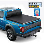 5.5FT Truck Bed Tonneau Cover For 2015-20 Ford F150 SUPER CREW CAB + LAMP 4-Fold