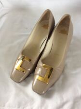 GINA Taupe 100% LEATHER  VINTAGE Mid Heel Court Shoes. SIZE 4. GOLD BUCKLE