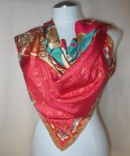 "Elaborate OSCAR de la RENTA Bohemian Silk Pink Red Gold Scarf 34"" Square"
