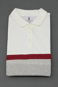 """NWT Brunello Cucinelli Men """"Slim Fit"""" Color-Block Striped Print Polo Size M A211"""