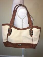 Chaps Ivory Brown Shoulder Bag Purse Magnetic Closure Preowned