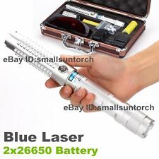 HIGH POWER Focusable Blue Laser Pointer 5000 Lumen Burn Laser Torch Pen 2x 26650