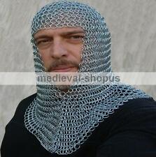 chain-mail coif zinc butted medieval armour chainmail hood larp reenctment v