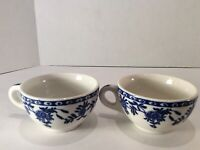 Vitrified Walker China, Bedford Ohio, Food Service Ceramic Cups White & Blue (2)