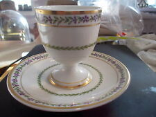 GDA LIMOGES Egg Cup w/Attached Underplate - Purple Leaves w/Green Leaves