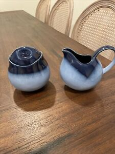 Stunning Vintage Blue Porcelain Creamer and Sugar W/Lid Set of 2 China Engraved