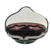 Farber Bros Red Glass Chrome Candy Dish