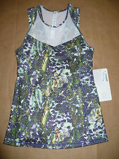 Lululemon RUNNING IN THE CITY TANK size 4 Tight Fit NWT Floral Sport White Multi