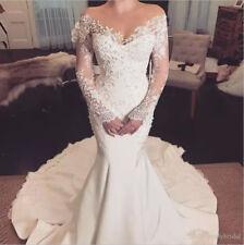 White Ivory Lace Appliques Mermaid Wedding Dress Long Sleeve Bridal Gown Custom