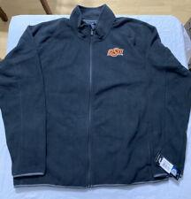OKLAHOMA STATE COWBOYS Men's Full Zip Alpine Text Fleece Jacket - BLACK XXL 2XL
