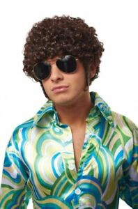 THAT 70'S 80'S GUY COSTUME WIG DISCO DANCE FEVER SMALL AFRO SIDEBURNS MALE BROWN