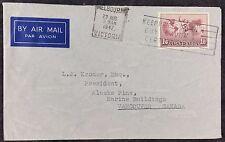 Australia 1947 Air Mail Cover Melbourne Victoria PMK To Vancouver, 1/6 Hermes