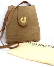 Charles Jourdan Paris Original Suede Leather Women Bag Handbag Beige Brown