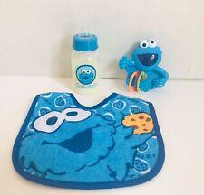 New Reborn doll accessories Layette Cookie Monster Formula Bottle Bib & Rattle
