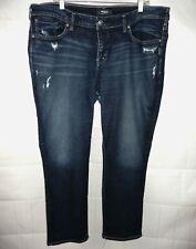 SILVER Sam Boyfriend 18 x 29L Slim Leg Mid Rise Dark Wash Distressed Jeans ~NICE