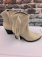 Wild Fable Women's Western Ankle Booties with Fringe Zip Cordette/White Size 7