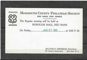 1941Postal Card Monmouth County Philatelic Society, Red Bank, NJ