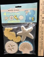 Beach Theme Wood Icons Crafts Decorative Seahorse Star Fish Sand Dollar Shell