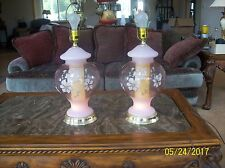 Hollywood Regency Mid-Century 2 Pink Floral Glass Bubble Table Lamps