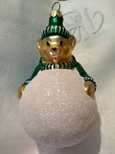 """Patricia Breen Henry the Baby Bear Blown Glass Christmas Ornament 5.30"""""""