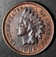 1889 INDIAN HEAD CENT- XF EF+ With REPUNCHED DATE & MPD *SNOW-4* 3 STAR VARIETY!