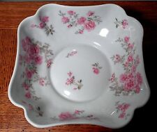 Bernardaud Limoges France Porcelain Square Bowl Hand Painted Flowers