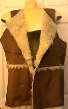 Hollister Women's Shearling Suede Vest Brown  size M $59.95