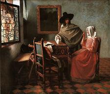 Herr und Dame beim Wein Vermeer holländische Malerei Fenster Bütten H A3 0288