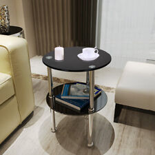 Modern 2 Tier Round Glass Side End Tables Coffee Occasional Sofa Table Black