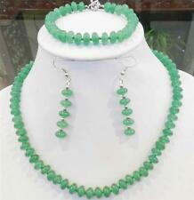 New 5x8mm Green Natural Emerald Rondelle Beads Necklace Bracelets Earrings Set