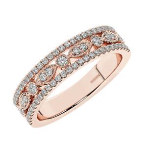 0.50 CT Pave Set Round Brilliant Cut Diamonds Half Eternity Ring In 18K RG