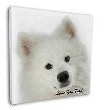 "Samoyed 'Love You Dad' Sentiment 12""x12"" Wall Art Canvas Decor, Pic, DAD-116-C12"