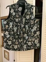 Susan Graver Weekend Vest Plus Size 20 Floral Black Tan Gray
