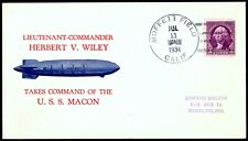 Uss Macon Wiley Flight Cover Moffett Field July 11 1934 Zeppelin Hacker Cachet