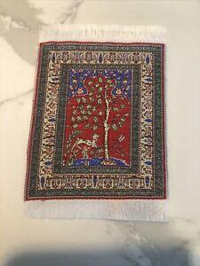 Vtg Doll House Tapestry Throw Rug, Fringe Border, Wall Hanging, Deer Garden
