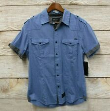 Marc Ecko Cut & Sew Mens Medium Blue Striped Dobby Stretch Button Shirt New