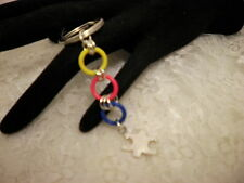 HandmadeColorful AUTISM Awareness Puzzle Charm Silver Key Chain